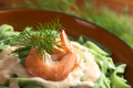 Tagliatelle with shrimp and cream sauce green ribbon noodle a fresh dill selective focus focus on the front of the Royalty Free Stock Image