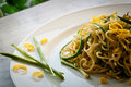 Tagliolini with courgettes Royalty Free Stock Photo