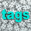 Tags hashtag symbol message update background the word on a of symbols to illustrate updates by topics to generate news or buzz Stock Photos