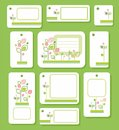 Tags, labels, green, pink leaves on white background, ecology, nature.