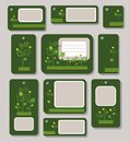 Tags, labels, green, yellow leaves on a dark green background, ecology, nature.