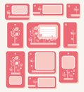 Tags, labels, pink leaves on pink-red background, ecology, nature. Royalty Free Stock Photo