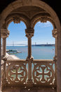 Tagus river and lisbon bridge seen through a balcony of belem tower lisboa portugal Stock Photography