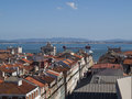 Tagus river and rooftops Royalty Free Stock Image