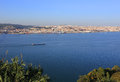 Tagus or tejo river viewed from the cristo rei statue in almada on southern margin of almada setubal district Royalty Free Stock Photography