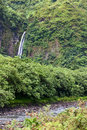 Tahiti. Mountain river and fall Royalty Free Stock Photo