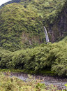 Tahiti. Mountain river and fall Royalty Free Stock Photo
