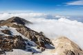 Tahtali mountain view of the top of over white clouds Stock Image