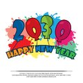 Happy 2030 New Year card with balloon. Royalty Free Stock Photo