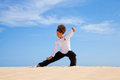 Tai chi in the dunes Royalty Free Stock Photo