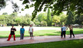 Tai chi at the parc du chateau french people practicing de la colline in city of nice in south of france Royalty Free Stock Photography