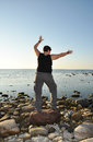 Tai chi by the sea Stock Images