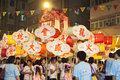 Tai Hang Fire Dragon Dance in Hong Kong Stock Photo