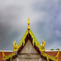 Tai temple roof detail of the of a thai phetchaburi thailand Royalty Free Stock Photography
