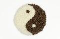 Taichi coffee beans e riso Fotografie Stock Libere da Diritti