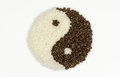 Taichi coffee beans and rice formed symbol Royalty Free Stock Photos