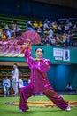 Taichi wushu performance at an international tournament Royalty Free Stock Image