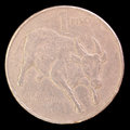 Tail of one piso coin issued by philippines in depicting a tamaraw dwarf buffalo the face the republic the the or mindoro Stock Image
