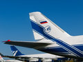 Tail wings of an airplane antonov volga dnepr zhukowsky august large russian jet at international aviation Royalty Free Stock Photography