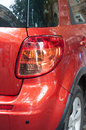Taillight of car red vehicle with raindrops Royalty Free Stock Image