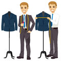 Tailor measuring bust young attractive on suit jacket Stock Images