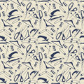 Tailor shop seamless pattern with scissors, iron, pins Royalty Free Stock Photo