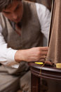 Tailor at work confident young sewing clothes shop Royalty Free Stock Photography
