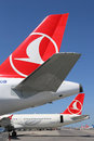 Tails of turkish airlines airplanes at istanbul atatürk airport turkey may international ist in turkey Stock Images