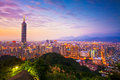 Taipei City Skyline at sunset with the famous Taipei 101 Royalty Free Stock Photo