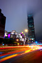 Taipei city traffic at night Stock Photography