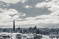 Taipei cityscape with dramatic clouds at sky infrared photography in black and white Stock Image