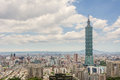 Taipei scenery cityscape of with skyscraper under dramatic clouds at blue sky in taiwan asia Stock Images