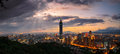 Taipei skyline panorama of s city at sunset and the famous Stock Photography