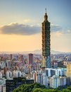 Taipei skyline of xinyi district in downtown taiwan Royalty Free Stock Photos