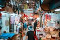 Taipei, TAIWAN - 3 Oct, 2017: Local Taiwanese people were walking around in the local market for shopping food and the other