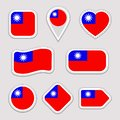 Taiwan flag vector set. Taiwanese flags stickers collection. Isolated geometric icons. National symbols badges. Web, sport page, p