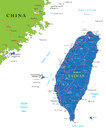 Taiwan map highly detailed vector of with administrative regions main cities and roads Royalty Free Stock Images