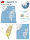 Taiwan maps with markers set of the political and symbols for infographic Stock Images