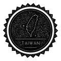 Taiwan, Republic Of China Map Label with Retro.