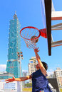Taiwan spotlight taipei rear left the highest building of located in sinyi district a basketball court is around it Stock Image