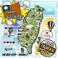 Taiwan travel map in comic style Royalty Free Stock Photo