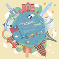 Taiwan travel poster design Royalty Free Stock Photo