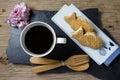 Taiyaki cakes with coffee on wood background Royalty Free Stock Photo