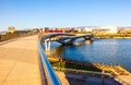 Taiyuan scene pedestrian bridge on th fenhe river taken in the fenghe park of shanxi china Stock Images