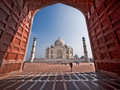 The taj mahal in agra india s iconic seen from mosque just west of mausoleum Stock Photos