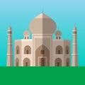Taj Mahal in Agra, India vector illustration. Flat style icon.