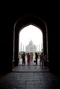 Taj Mahal within archway Stock Images