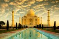 Taj mahal beautiful during sunrise in agra india Stock Image