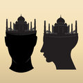 Taj mahal on head design icon Stock Image