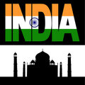 Taj Mahal and India flag text Royalty Free Stock Images
